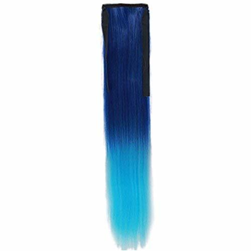 Wig Cauda Equina/Gradient Belt Type False/Long Straight Braided Ponytail(Blue)