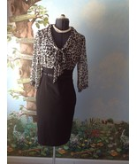 White House Black Market Black Animal Print 3/4 Sleeve Women Dress Size 8 - $38.61
