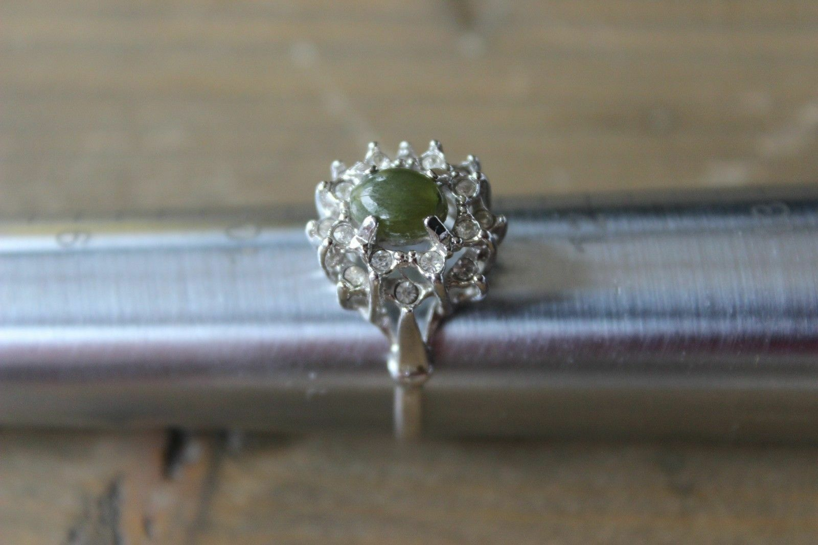 Primary image for Large Vintage Rhinestone Statement Ring Green Stone Size 11