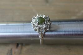 Large Vintage Rhinestone Statement Ring Green Stone Size 11 - $17.82