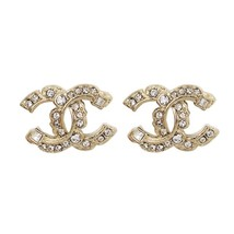 AUTHENTIC CHANEL GOLD RARE CC LOGO STUD EARRINGS MINT