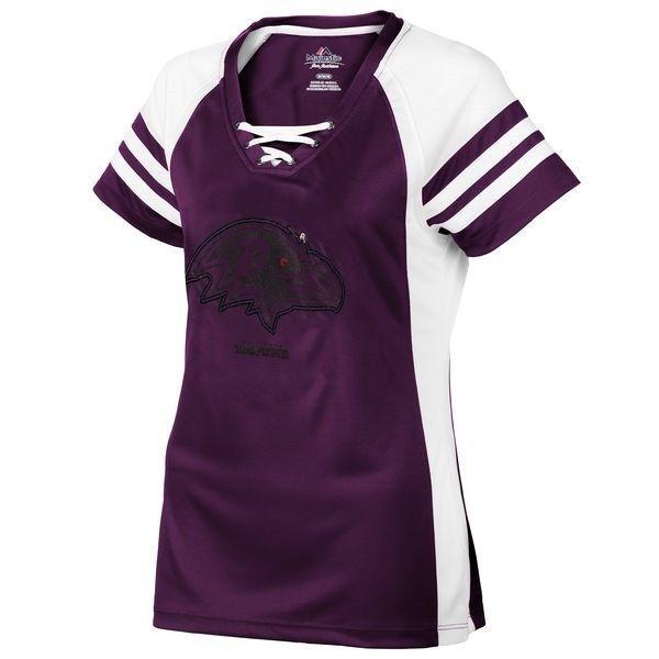 Women's Baltimore Ravens Jersey Tee NFL Draft Me Shimmer Lace Up Shirt