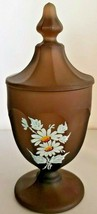 Westmoreland Frosted Smoky Brown Satin Glass Candy Dish Hand Painted Daisies  - $37.40