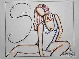 "Original wall art drawing Study ""S"" small size no frame signed woman fig... - $35.64"