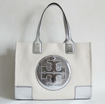 NWT TORY BURCH ELLA CANVAS MINI TOTE NATURAL SILVER - $230.75