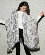 INC International Concepts Metallic Floral Jacquard Ruana Shawl Wrap, Wh... - $27.72