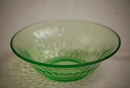 Old Vintage Thumbprint Green by Federal Glass Cereal Bowl Green Depressi... - $16.82