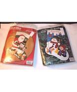 CHRISTMAS 2 Vtg FELT Stocking Kits Bucilla Santa Snowman Frosty Friends - $56.38