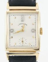 Lord Elgin Vintage 14k Or Jaune & Diamants Remontage Watch W / Bracelet Cuir - $814.45