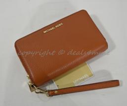 NWT Michael Kors Adele Large Flat Phone Leather Wallet/Wristlet in Orange - £117.16 GBP