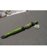 Fancy Handcrafted lime green bead ballpoint ink writing pen w/ butterfl... - $24.00