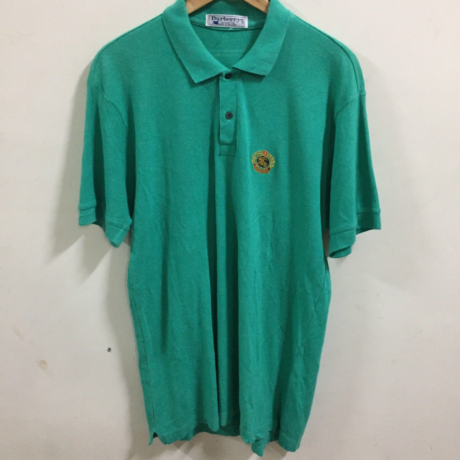 ceed65e0c Men's BURBERRYS LONDON GOLF tennis Polo Shirt Size L MADE IN ENGLAND Green  - $25.74