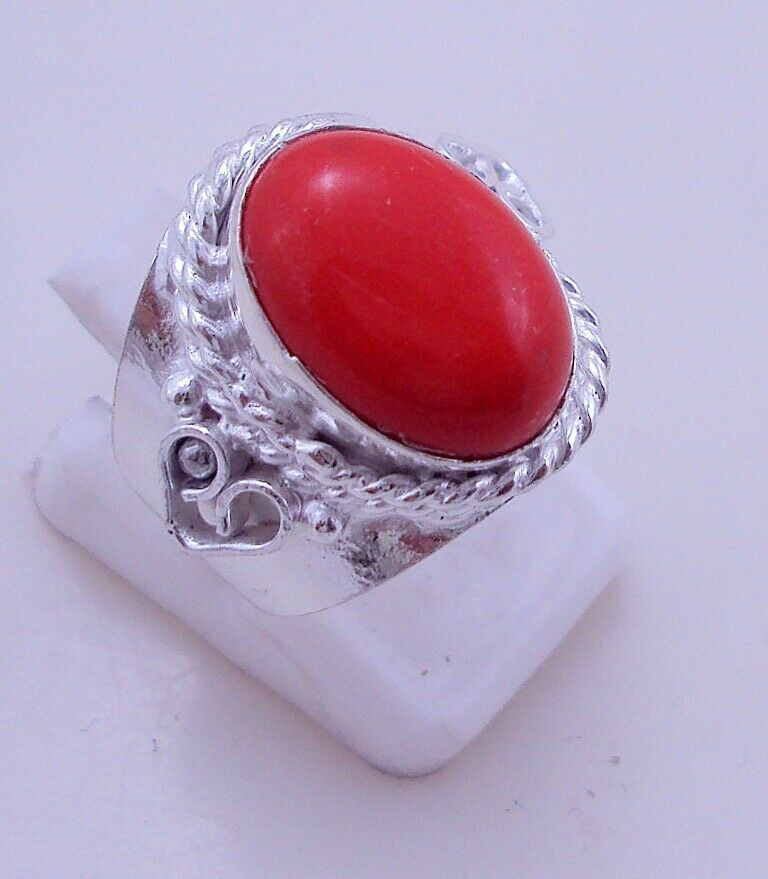 5 Gr. Coral Silver Overlay Handmade Ring Jewellery Size-7 -P-146-6