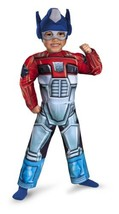 Optimus Prime Rescue Bot Toddler Muscle Costume, Red/Blue, 3T-4T - $31.05