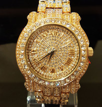 Men Hip Hop Iced out Bling Gold PT Rapper's Bling BIG Simulated Diamond ... - $24.74 CAD