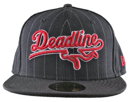 Deadline Sports Logo Pinstripe Fitted New Era Hat Cap Black