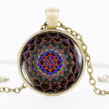 SUTEYI Glass Dome Sacred Sri yantra Necklace Pendant  Geometry Jewelry V... - $5.38