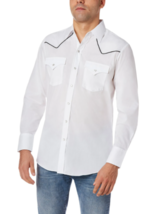 Ely Cattleman  White Long Sleeve Western Shirt with Contrast Piping image 2