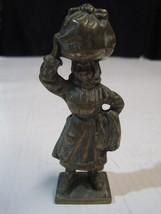 Antique old woman washerwoman in broze statue figure - $20.75