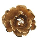 Vintage BOUCHER Rose Brushed Gold Plated and Pearl Pin Brooch So Pretty ... - $53.99