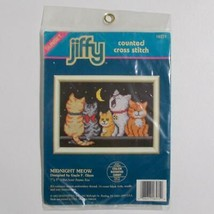 Dimensions Jiffy Cross Stitch Kit 16571 Midnight Meow Cats Gayle Glass 1992 - $14.84