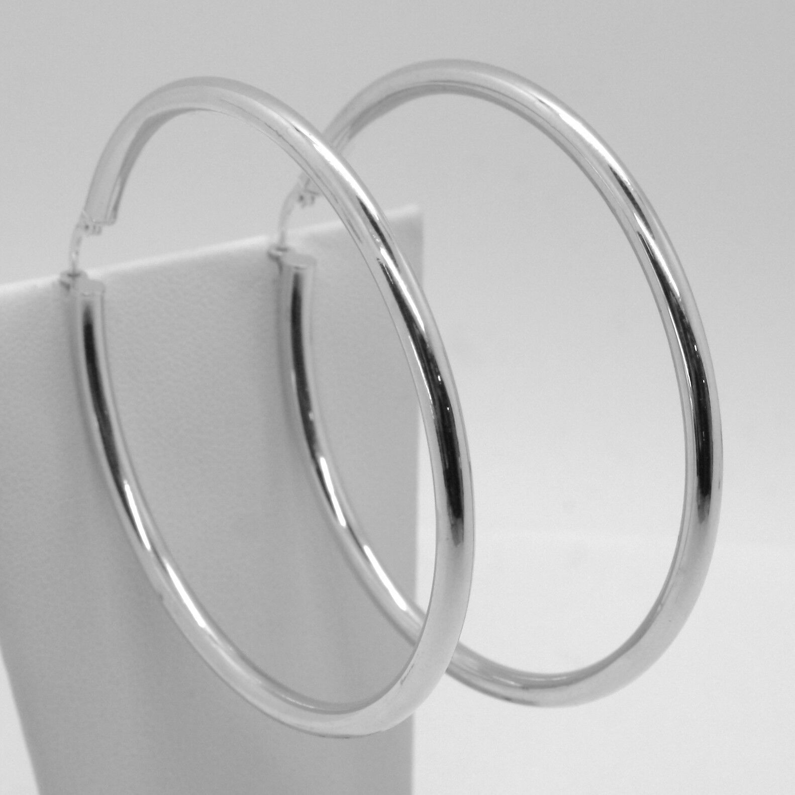 18K WHITE GOLD ROUND CIRCLE EARRINGS DIAMETER 60 MM, WIDTH 3 MM, MADE IN ITALY