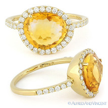 3.08ct Fancy Cut Citrine Round Cut Diamond Halo Right-Hand Ring 14k Yell... - €966,38 EUR