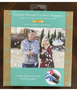 New Kate & Milo Gender Reveal PARTY Confetti Poppers 2 Blue And 2 Pink P... - $10.89