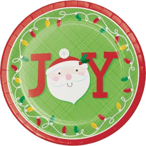 "Friends of Santa JOY Paper 8 Ct 9"" Dinner Plates"