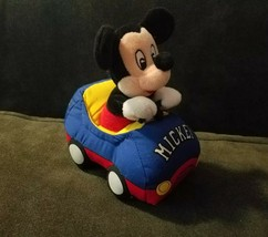 DISNEYLAND PARIS MICKEY MOUSE CAR WITH PULL STRING VIBRATES PLUSH DISNEY... - $14.50