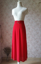Double Slit Skirt Long RED SKIRT Lady Red High Waisted Party Skirt with Belt NWT image 2