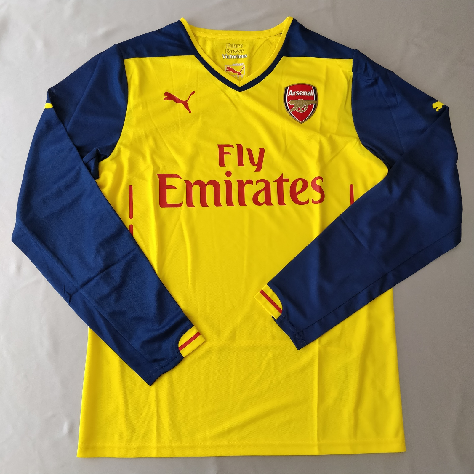Primary image for Arsenal Away Jersey 2014/15 Puma Promo Version Yellow %100 Original Long Sleeve