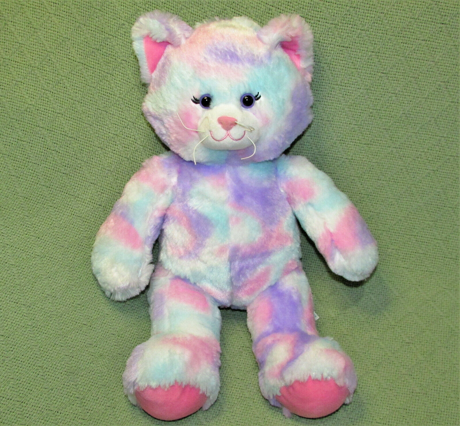 "Primary image for 16"" BUILD A BEAR CAT PASTEL TYE DYE PINK PURPLE STUFFED ANIMAL WITH VOICE BOX"