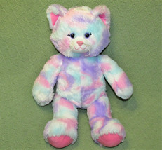 "16"" BUILD A BEAR CAT PASTEL TYE DYE PINK PURPLE STUFFED ANIMAL WITH VOIC... - $19.80"