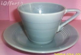 HOMER LAUGHLIN GRAY HARLEQUIN CUP AND SAUCER - $9.95