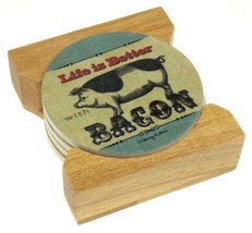 Counter Art Life Is Better With Bacon Round Stone Coasters Set 4 Wooden ... - $9.99