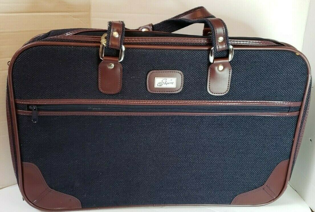 "Primary image for Vintage Skyway Tweed Suitcase Luggage Travel Navy Brown 21""W x 14""H x 5.5""D"