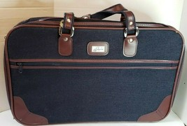 "Vintage Skyway Tweed Suitcase Luggage Travel Navy Brown 21""W x 14""H x 5.5""D - $11.62"