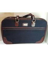 """Vintage Skyway Tweed Suitcase Luggage Travel Navy Brown 21""""W x 14""""H x 5.5""""D - $11.62"""