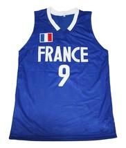 Tony Parker #9 Team France New Men Basketball Jersey Blue Any Size image 1