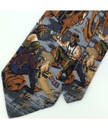 NATURE'S MUSEUM COYOTE NIGHTS GRAY BRN HORSE Cowboys RIDING SILK Tie N2-... - $15.83