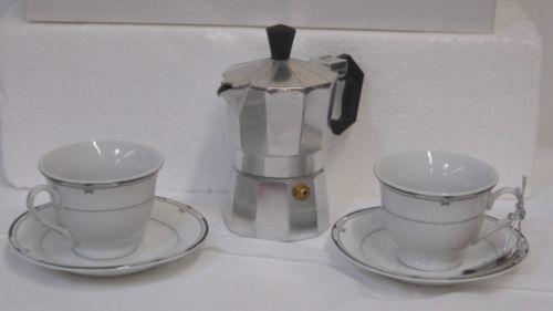 Lorren Home Trends Black Silver 5 Piece Espresso Set 40004 Porcelain