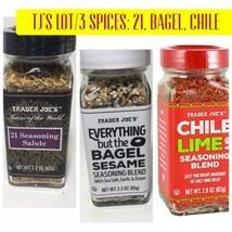 Trader Joe's 3pc Spice Lot/3: Everything Bagel,Chile Lime,21 Seasoning Salute - $17.67