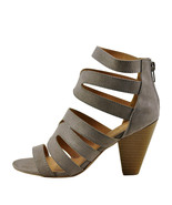 Qupid Chamber 26X Taupe Suede Women's Strappy Caged Stacked Heel - $35.95