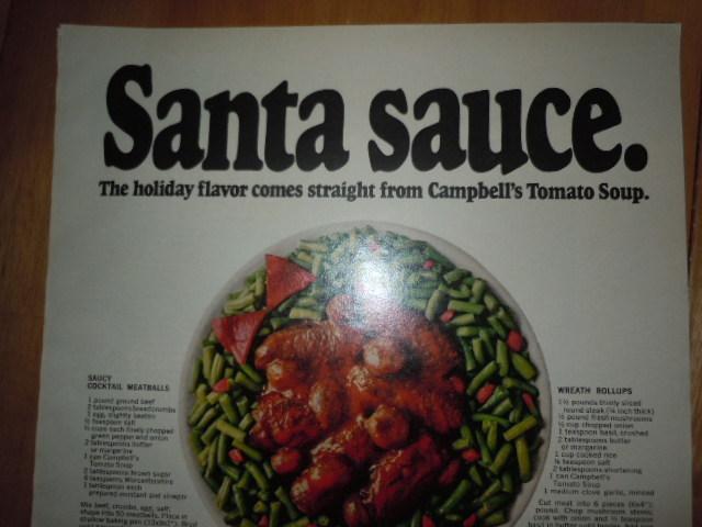 Campbell's Tomato Soup Santa Sauce Print Magazine Ad 1969  image 2