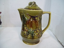 Olive Green Hand Painted Fruit Apple Pear Cherry Teapot Japan  T104 H6 - $14.84
