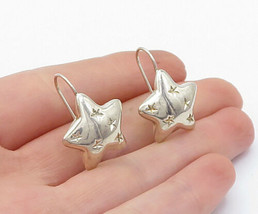 925 Sterling Silver - Vintage Shiny Star Etched Pattern Drop Earrings - ... - $25.23