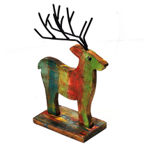 Hand Carved Decor Deer Made With Wood And Iron Metal Art. Perfect For Home - $48.99