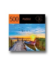 """Docked Boat w Sunset Jigsaw Puzzle 500 pc 28"""" x 20"""" Complete Durable Fit Pieces"""