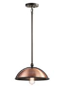 Kichler KK42782ACO Sepia 1 Light 14 inch Antique Copper Pendant Ceiling ... - $98.95